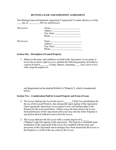 printable hunting lease agreement 8 best images of hunting lease agreement forms printable