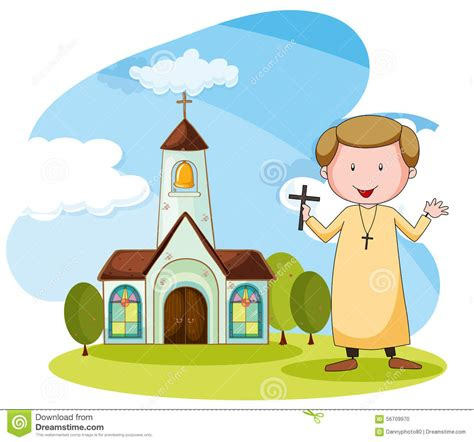 imagenes de sacerdotes orando iglesia y sacerdote ilustraci 243 n del vector imagen 56709970
