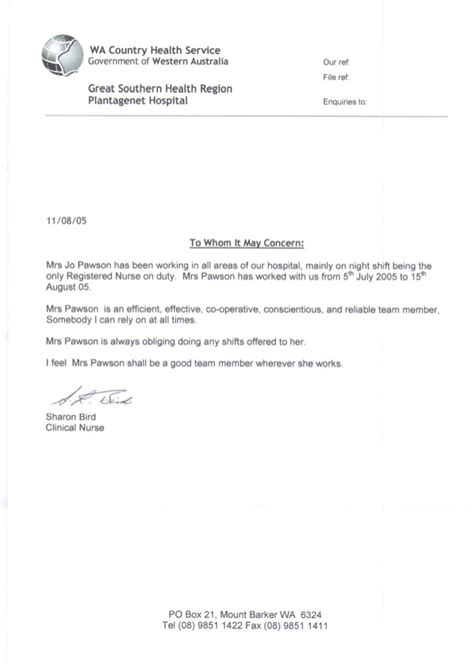 Letter For Hospital Reference Letter From Plantagenet Hospital 2005