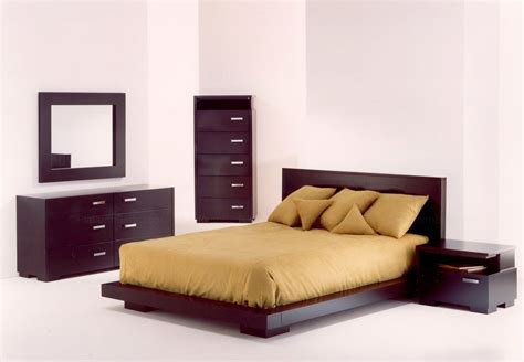 Brown Bedroom Set Featured Queen Size Wood Low Profile Bed Lower Bed Frame Height