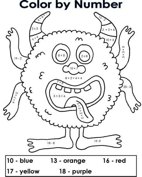 challenging math coloring pages coloring pages our own color by number monster