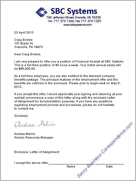 appointment letter response a offer letter format business letters