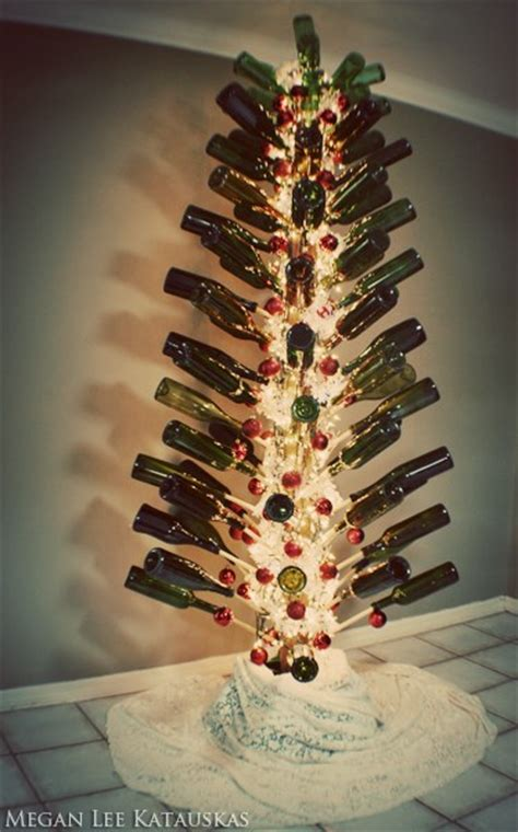 christmas tree made from wine bottles wine bottle and cork crafts wine sisterhood who wine food travel crafts