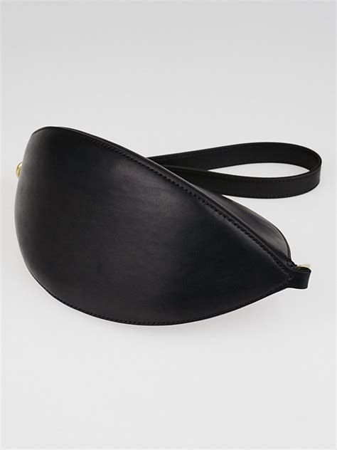 curved leather celine black natural calfskin leather curved dragonne pouch bag yoogi s closet