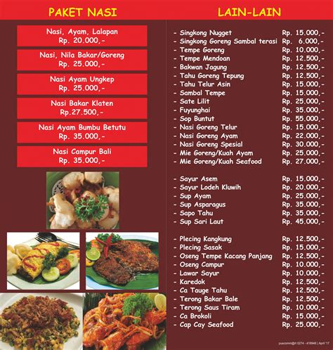 desain daftar menu resto menu bale bengong resto jogja bale bengong resto