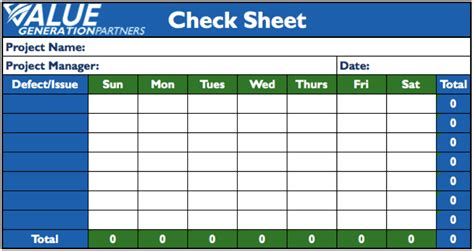 Quality Check Sheet Template generating value by using the seven basic quality tools