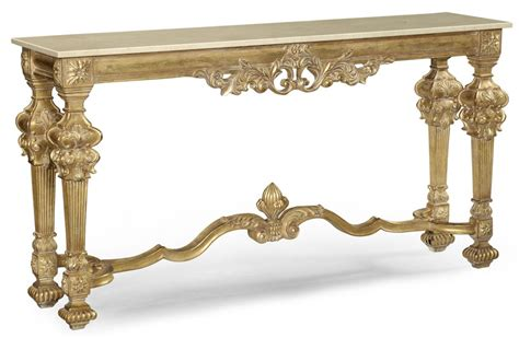 gold antique finish marble top carved console