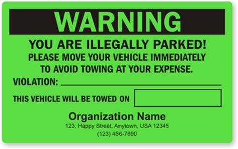 Illegal Parking Stickers Parking Lot Stickers Parking Warning Notice Template