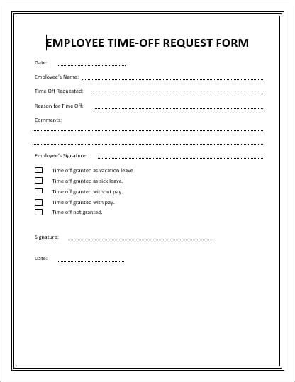 fillable online time off request form comfort keepers fax email