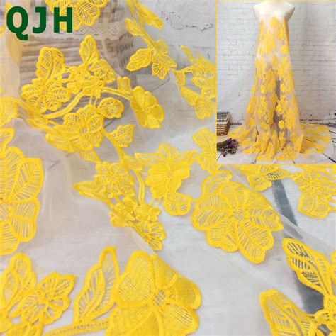 Best Seller High Quality Lace Yellow Tmc qjh brand high quality organza lace fabrics yellow net lace fabric embroidered