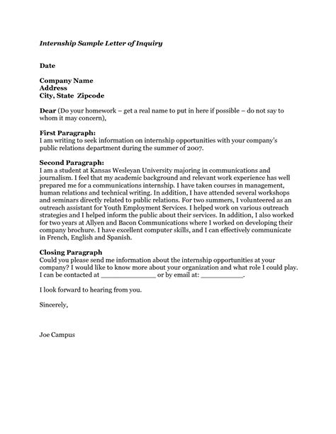 Inquiry Letter Internship How To Write A Letter Of Intent For Internship Cover Letter Templates