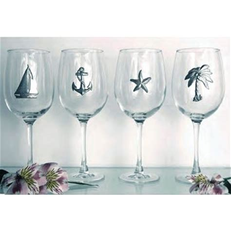 Nautical Theme Pewter Accent Glasses