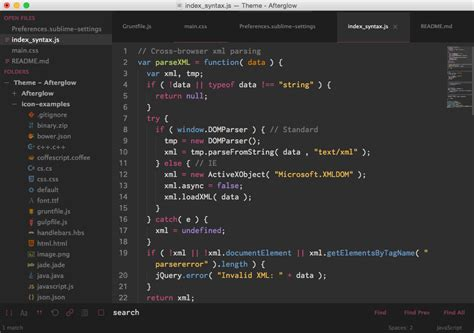 sublime text 3 theme afterglow theme afterglow packages package control