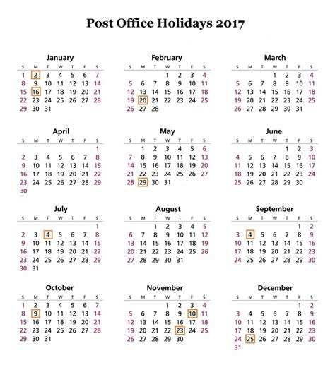 Us Post Office Holidays by Usps Holidays Us Postal Service Schedule 2017