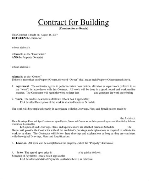 Sle Contract Form 23 Free Documents In Pdf Doc Building Contractor Agreement Template