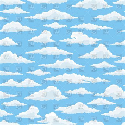 pattern blue sky fluffy white clouds on blue sky seamless pattern royalty