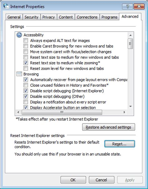 resetting windows explorer reset web browsers to factory default settings ghacks