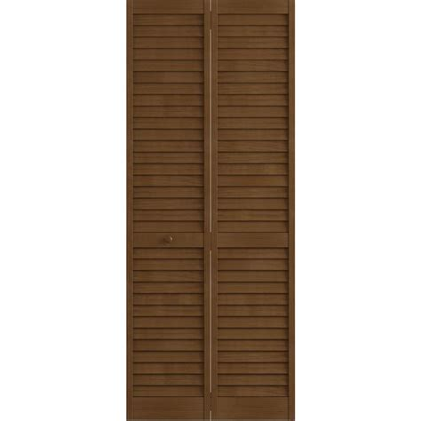 Frameport 24 In X 80 In Louver Pine Espresso Plantation 24 Closet Door