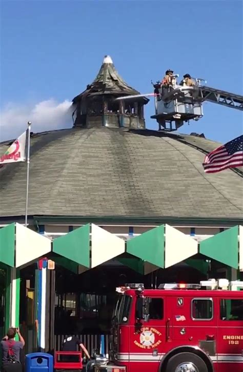 amusement park ride roof carousel roof catches at amusement park no injuries