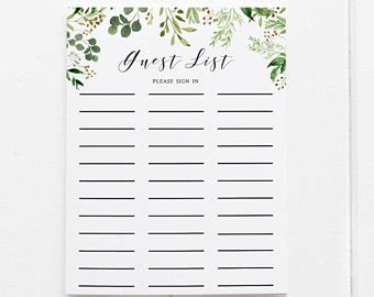 printable bridal shower sign in sheet guest list printable etsy