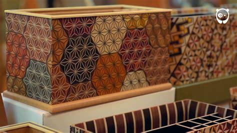japanese yosegi art  gluing colored wood  cutting
