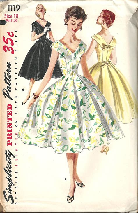 pattern for vintage dress vintage sewing pattern dress simplicity 1119 beautiful