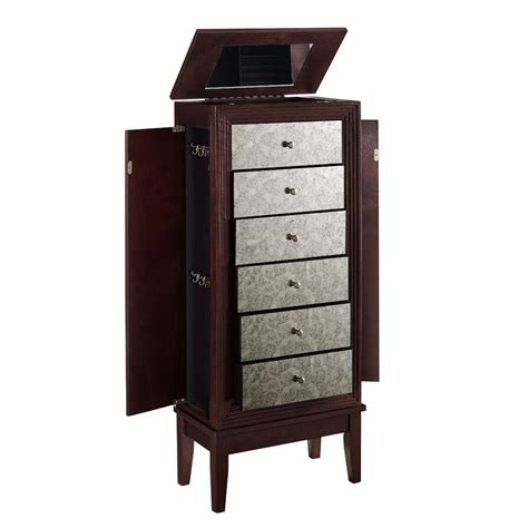 jewelry armoire with mirror front ava jewelry armoire flip top mirror cabinet antique mirror