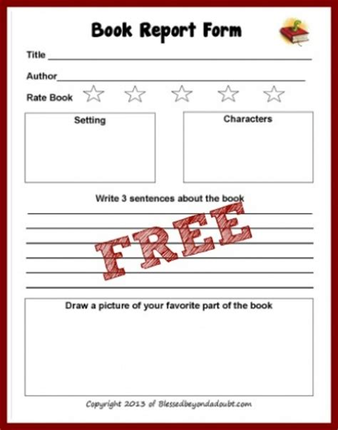 printable book report form 7 best images of printable elementary book report forms