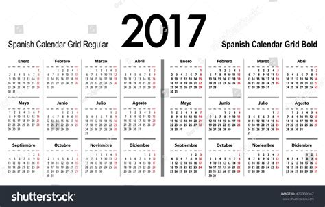grid pattern en espanol spanish calendar grid 2017 mondays first stock vector