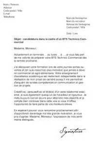 Exemple De Lettre De Motivation Commercial Lettre De Motivation Bts Technico Commercial Mod 232 Le De Lettre