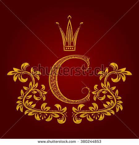 patterned golden letter c monogram vintage stock vector