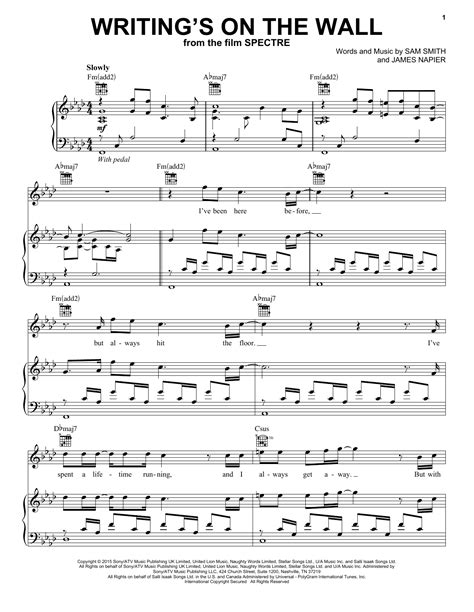 Writing's On The Wall Sheet Music | Sam Smith | Piano