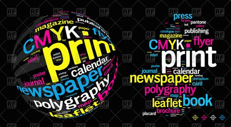 press on wallpaper printing word cloud background royalty free vector clip