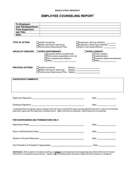 counselling forms templates best photos of employee verbal counseling form employee