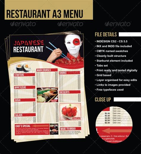 japanese menu template 15 best images about menu on behance