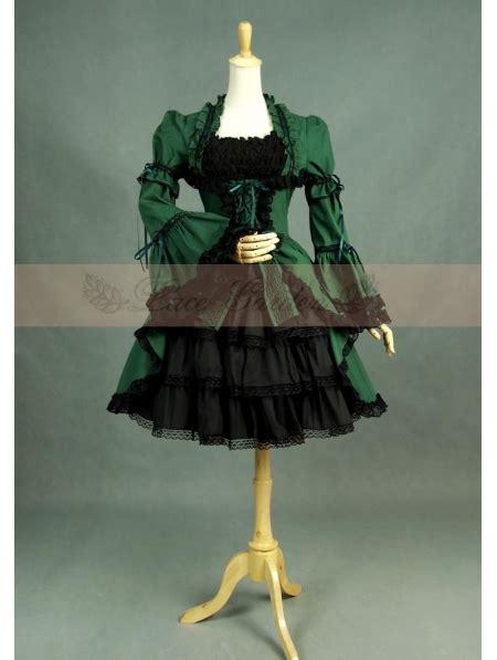 green  black long sleeves gothic lolita dress