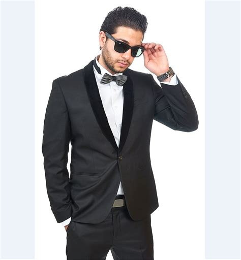 billiken collar charcoal black suit dress yy