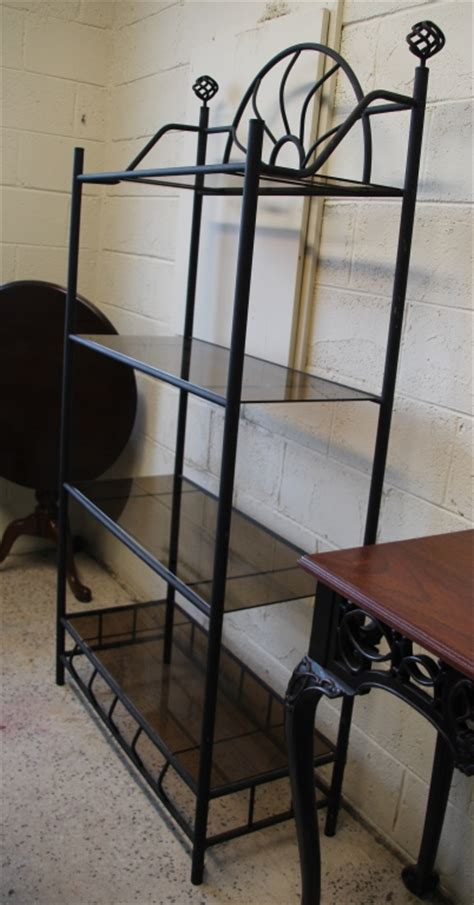 vintage wrought iron bakers rack w glass shelves