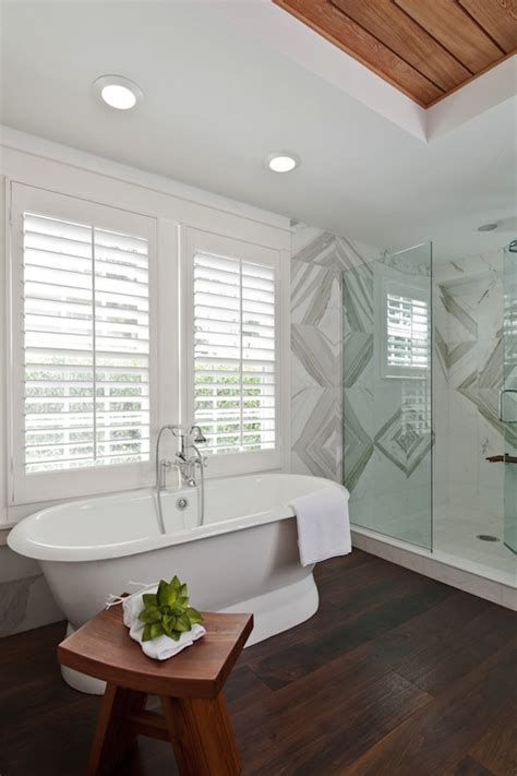 Tray Ceiling With Wood Zen Bathroom Contemporary Bathroom Mhkap