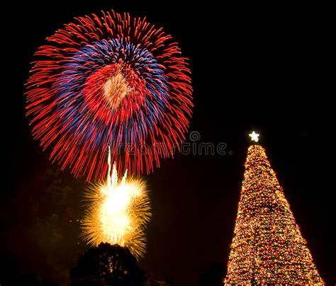 christmas tree fireworks eve lights santa stock image
