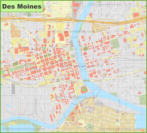 map of des moines iowa des moines downtown map