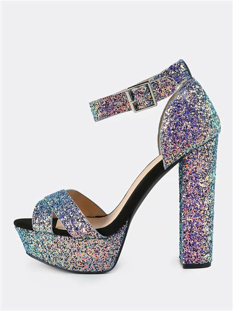 Gliter Heels iridescent glitter platform heels blue makemechic