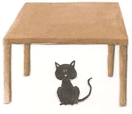 cat table hiding under desk clipart clipart suggest