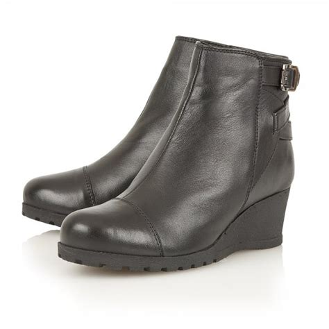pitaya black leather wedge ankle boot