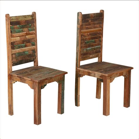rustic distressed reclaimed wood multi color kitchen dining room chairs set   ebay