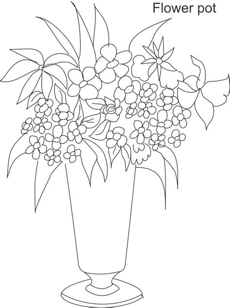Flower Pot Coloring Page Coloring Coloring Pages Flower Pot Coloring Pages