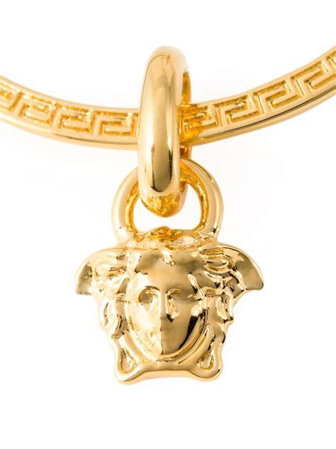 versace medusa hoop earrings in metallic lyst
