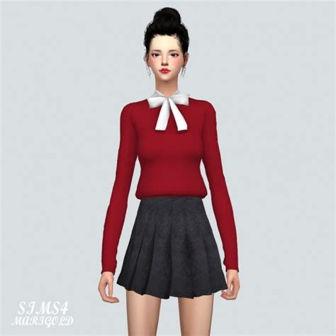 Simple Ribbon Blouse ribbon simple blouse at marigold 187 sims 4 updates