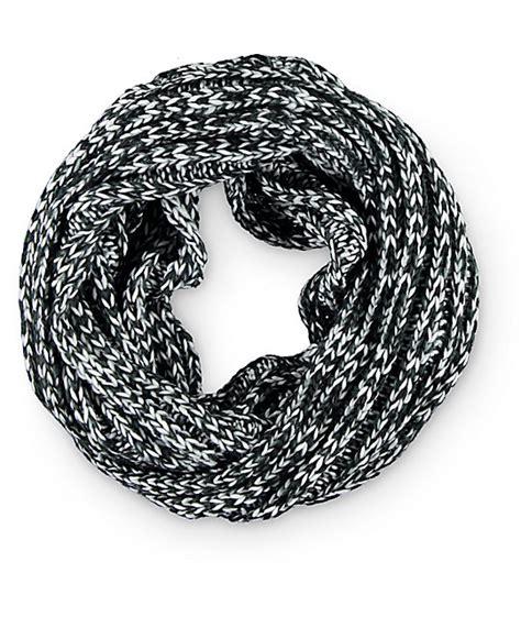 black knit infinity scarf empyre black white marled knit infinity scarf at zumiez