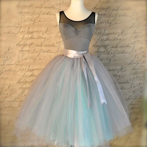 dove gray and light blue tutu skirt for ballet